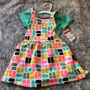 New cat & jack pinafore dress set top girl 2t